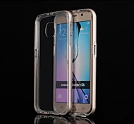 Special Design High quality Solid Color Metal Bumper Transparent TPU Back Cover for Samsung S6