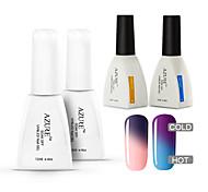 Azure  4 Pcs/Lot Nail Gel Polish Art Soak Off Color Changing UV  Chameleon Change Color(#10+#20+BASE +TOP)