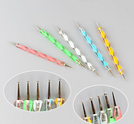 5PCS Nail Art Tool Dotting Painting Plastic + Iron Pens