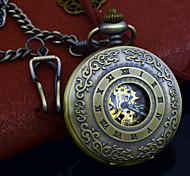 bronzo pentern orologio da tasca automatica auto-vento di modo dell'annata uomini meccanici giovane orologio da tasca + chain