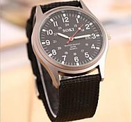 женщин / мужчин круглый циферблат случай ткани часы модного бренда кварцевых часов (больше цвета доступны)