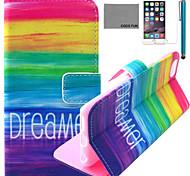 arco-íris fun® Coco padrão sonhador estojo de couro pu com protetor de tela e cabo USB e caneta para Iphone 6