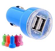 dc 12-24v 2.1a / 1a de doble usb adaptador de cargador de coche mini auto para iphone y otros (colores surtidos)