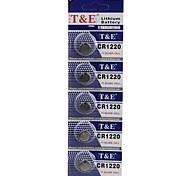 T&E  CR1220 High Capacity Button  Batteries (5PCS)