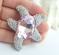 Women Accessories Pink Clear Rhinestone Crystal Brooch Bouquet Art Deco Starfish Brooch Women Jewelry