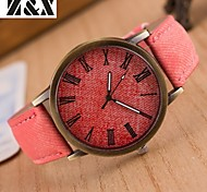 Women's Fashion Diamond Colorful Strip Design Quartz Analog Denim Cloth Band Wrist Watch(Assorted Colors) Cool Watches Unique Watches