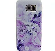 das Leben ist schön Wörter Blumen-Muster-TPU weich rückseitigen Abdeckung für Samsung-Galaxie-S6