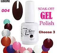 LIBEINE 3 pcs/lot 15 ML UV Color Gel Nail Polish No.004(Dark Black-purple)