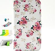 modello di fiori cuoio dell'unità di elaborazione con la spina anti-polvere e stand casi corpo pieno per Samsung Galaxy Core 2 g355h