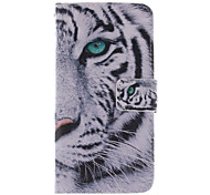 White Tiger Design PU Leather Case with Stand and Card Slot for Alcatel One Touch Pop C7