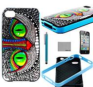 Coco Fun® patrón ojos de gato verde del tpu suave cubierta de la caja con protector de pantalla y el stylus para el iphone 4 / 4s