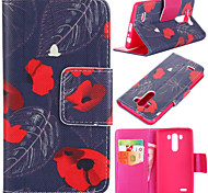 Red Flower Pattern with Card Bag Full Body Case for LG G3