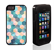 Color Dreamlike Lattice Pattern 2 in 1 Hybrid Armor Full-Body Dual Layer Shock-Protector Slim Case for iPhone 5/5S