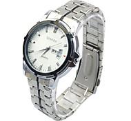 Fashion Sliver Stainless Steel Band Date Analog Quartz Sport Mens Wrist Watch