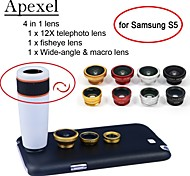Apexel 4 in 1 12X White Telephoto Lens+Fisheye Lens+Wide-angle+Macro Camera Lens with Case for Samsung Galaxy S5