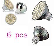 6 pcs GU5.3  4W 60*SMD3528 300LM 3000-3200K Warm White MR16 Spot Lights AC 220-240 V