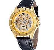 tondo quadrante lega cinghia di cuoio automatico orologio da polso impermeabile meccanico uomo (colori assortiti)