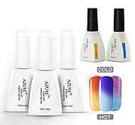 Azure 5 Pcs/Lot Nail Gel Polish Temperature Changing Color Soak Off Nail Art UV Gel Polish(#17+#23+#28+BASE+TOP)