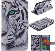 caso de corpo inteiro projeto do tigre branco pu couro com slot para cartão e stand para Samsung i9600 s5