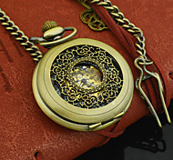 Men Vintage Copper Roman Number Automatic Mechanical Pocket Watch Necklace Luminous Clock