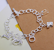 Siver Plated Cute Pattern Copper Chain Bracelet