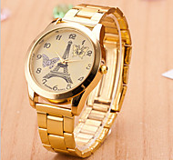 Couple's Round Dial Case Alloy Watch Brand Fashion Quartz Watch