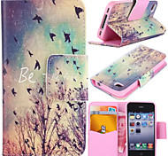 Autumn Birds Pattern with Card Bag Full Body Case for iPhone 4/4S