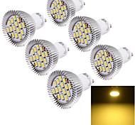 Faretti LED 15 SMD 5630 YouOKLight GU10 7W Decorativo 700 LM Bianco caldo 6 pezzi AC 85-265 V