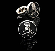 Toonykelly® Fashion Men's Silver Plated Skull Skeleton Party Cufflink Button(1 Pair)
