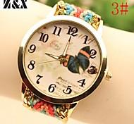 Women's Fashion Diamond Lovely Butterfly Quartz Analog Weaving Wool Band Wrist Watch(Assorted Colors)