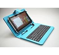 Tastiera di vibrazione magnetica con il cristallo titolare custodia in pelle texture per 7 ~ 7.85inch tablet pc universale