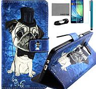 Coco fun® bonito teste padrão do cão estojo de couro pu com filme e cabo USB e caneta para Samsung Galaxy a7