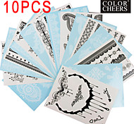 10PCS Black and White Lace Pattren Waterproof Tattoo Sticker
