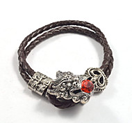Gothic Men's Red Crystal Chinese Dragon Head Buckle Leather Bracelets 1pc