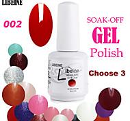 LIBEINE 3 pcs/lot 15 ML UV Color Gel Nail Polish No.002(Classic Red)