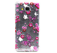 Butterflies Flowers with Bling Diamond Pattern Ultrathin TPU Soft Back Cover Case for Samsung Galaxy Grand Prime G530
