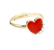 Fashion Red Zircon Heart God Alloy Ring Band Rings