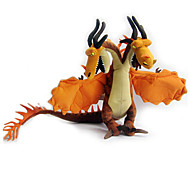 36cm Gold Fire Dual Head Dragon Train Stuffed Soft Toy