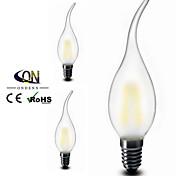 3PCS ONDENN E12 2 W 2 COB 200 LM 2800-3200K K Warm White A Dimmable Candle Bulbs AC 110-130 V