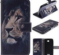 dessin de la face de lion pu cas de stand en cuir avec fente pour carte sony e4
