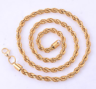 4MM Width Men Women Fashion 18K Gold Plated Stainless Steel Hemp Flowers Rope Chain Necklace Pendant Chains