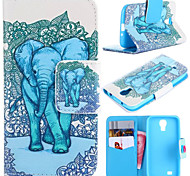 Elephant Pattern with Card Bag Full Body Case for Samsung Galaxy S4 I9500