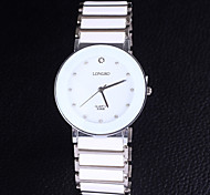 unisex's Diamond Digital Disc Ceramic Stainless Steel Strap Quartz Watch