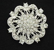 Clear Women's Party Flower Round Brooch Broach Pins Jewelry Rhinestone