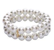 D Exceed  Women Glass Pearl Bracelets 2 Layer Stretch Beaded Bracelets Charm Faux Pearl Wedding Jewelry