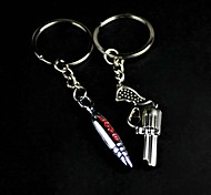 Alloy Gun and Bullet Lovers Key Chain