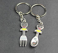 Alloy Smile Fork Spoon Lovers Key Chain
