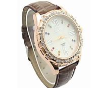 Fashion CZ Diamond Leather Watchband Wristwatch(Coffee)(1Pc)