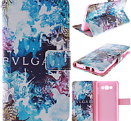 Blue Beautiful Design PU Leather Stand Case with Card Slot for Samsung Galaxy A7