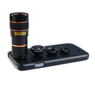 Apexel 4 in 1 Lens Kit 8X Telephoto Lens +Wide-angle+Macro Lens +Fisheye Lens with Back  Case for Samsung Galaxy S4